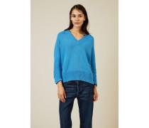 V-Neck Baumwoll-Pullover Lagoon Blue - 100% Baumwolle