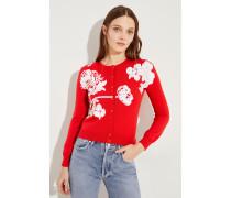 Woll-Cardigan mit Pailletten Rot/Weiß
