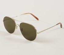 Sonnenbrille 'Rockmore' in Piloten-Form Gold/Braun