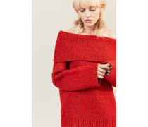 Off-Shoulder-Pullover 'Oversized Chunky' Rot