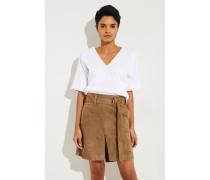Baumwoll T-Shirt mit Perlen-Details Weiß -