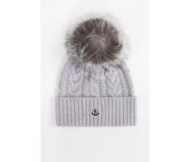 Woll-Cashmere-Mütze mit Zopfmuster Hellgrau