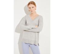 Oversize Woll-Pullover mit V-Neck Grau