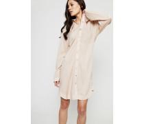 Hemdblusenkleid 'Ruben' mit Reißverschlussdetails Nude - 100% Baumwolle