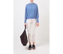 Cashmere-Pullover mit Perlenverzierung Blau