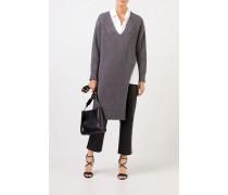 Langer Rippstrick-Cashmere-Pullover Grau Melange