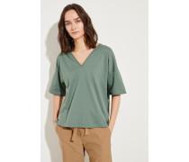 Baumwoll-Shirt mit Perlenverzierung Grün