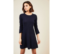Woll-Cashmere Strickkleid Marineblau