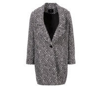 Tweed-Mantel mit Muster /Weiß