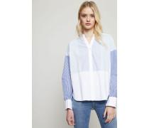 Baumwollbluse mit Streifenmuster Blau/Weiß - 100% Baumwolle
