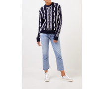 Woll-Cashmere-Pullover mit Intarsienmuster Marineblau/Weiß