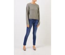Cashmere-Pullover mit Zopfmuster Salbei