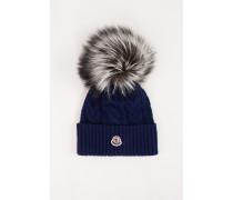 Woll-Cashmere-Mütze mit Zopfmuster Marineblau