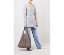 Woll-Cashmere-Cardigan mit Gürtel Grau