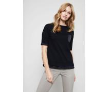 T-Shirt mit Perlenverzierung Schwarz
