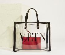 Shopper 'VLTN' mit Lederdetails Transparent/Schwarz