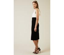 Wollkleid mit Knotendetail Schwarz/Weiß