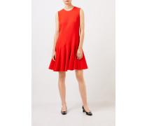 Ausgestelltes Woll-Kleid Rot