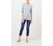 Cashmere-Pullover mit Mesh-Strick Seegrün