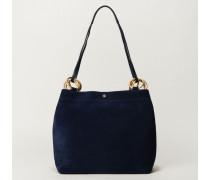 Veloursleder-Handtasche 'Farrah' Blau - Leder