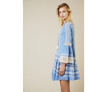 Kleid 'Gabriella' mit Stickerei und Spitze Blau/Weiß - 100% Baumwolle