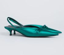 Slingback mit Schleife Grün - Leder