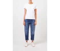 T-Shirt 'Tricolor Fox Patch' mit Brusttasche Weiß