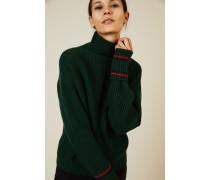 Woll-Cashmere-Pullover Grün/Rot/Blau - Cashmere