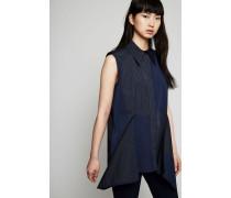 Bluse mit frontaler Applikation Marineblau/Multi - Seide