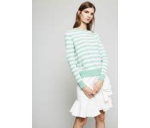 Gestreifter Cashmere-Pullover Grün/Crèmeweiß - Cashmere