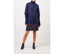 Alpaka-Seiden-Pullover mit geknöpften Ärmeln Marineblau