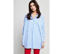 Gestreifte Oversized-Bluse Blau/Weiß - 100% Baumwolle