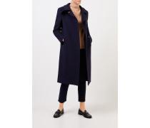 Langer Woll-Mantel Blau