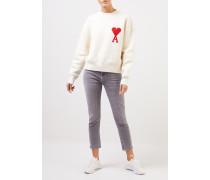 Sweatshirt mit Stickerei Ecru