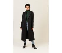 Langer Mantel mit Satin-Details Schwarz