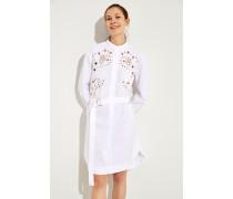 Baumwoll-Kleid mit Lochmuster Weiß