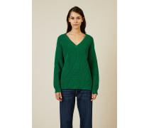 V-Neck Baumwoll-Pullover Grün