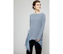 Zweilagiger Pullover mit Pailletten-Verzierung Taubenblau - Seide