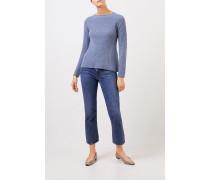 Cashmere-Pullover mit Strickdetail Denimblau