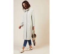 Woll-Alpaca-Mantel mit Strickkragen Grau- Mantel in Hellgrau - Stehkragen mit Strickeinsatz - Frontale Druckknopfleiste - Lange Ärmel - Seitliche Eingrifftaschen - Lockere Silhouette - Rückseitige Gehschlitze - Knieumspielend Material 1: - 52% Wolle - 36% Alpaca - 12% Polyamid Material 2: -