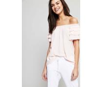 Seiden-Bluse mit Volant-Details Rosé - Seide