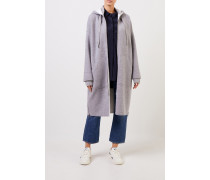 Woll-Mantel mit Kapuze Grau