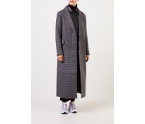 Langer Woll-Mantel mit Glencheck Grau/Multi