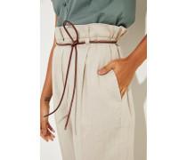 Baumwoll-Leinen Hose mit Ledergürtel Beige