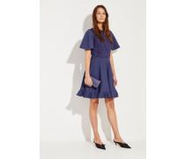 Strick-Kleid mit Spitzenbesatz Blau