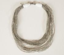 Halskette mit Perlenverzierung Silber - Leder