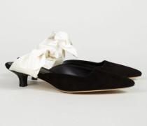 Mule 'Coco' aus Veloursleder Schwarz/Ivory - Seide