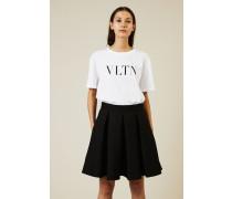 T-Shirt mit Logo-Print Weiß/Schwarz - 100% Baumwolle