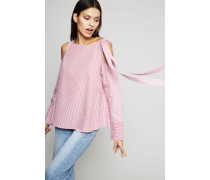 Gestreifte Bluse mit Schulter-Cut-Outs Rot - 100% Baumwolle