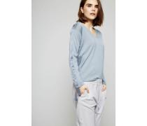 Cashmere-Seiden-Shirt mit Perlenverzierung Taubenblau - Cashmere